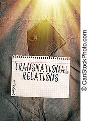 概念, 表示法, trouser, 執筆, paper., インターナショナル, 世界的である, 前部, 外交, relations., テキスト, 手, 写真, 中, 提示, ポケット, 多国籍組織, ビジネス, 政治, 札入れ, 小さい, 関係