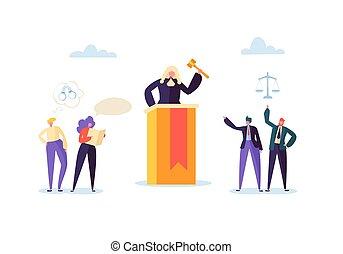 概念, 要素, 正義, 人々。, 法廷, judg, イラスト, ベクトル, lawbook, 法廷, 特徴, lawyer., 小槌, 陪審, 法律, judical