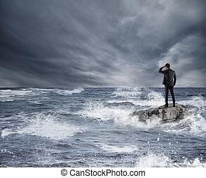 概念, 見る, 未来, 経済, sea., 嵐, ビジネスマン, の間, 問題, 危機