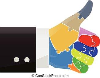 概念, 親指, ジグソーパズル, の上, イラスト, ベクトル, 指