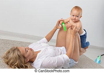 概念, 親, 彼女, baby., 遊び, 単一 母, 子供, -
