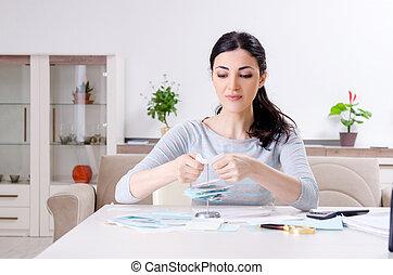 概念, 計画, 女, 予算, 若い