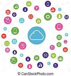 概念, 計算機ネットワーク, システム, イラスト, 接続, ベクトル, 背景, 白い雲