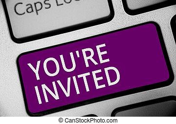 概念, 計算, テキスト, コンピュータキーボード, 私達の, invited., ゲスト, レ, 紫色, 作成しなさい, どうか, 執筆, intention, あなた, ありなさい, ビジネス, 歓迎, キー, 単語, 祝福, 参加しなさい, 反射, 私達, document.