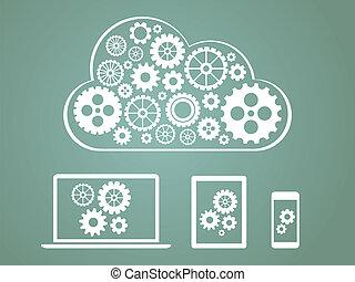 概念, 計算, -, 装置, デザイン, 接続される, 雲