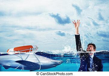 概念, 詐欺, 助け, drown., 多分, ビジネスマン
