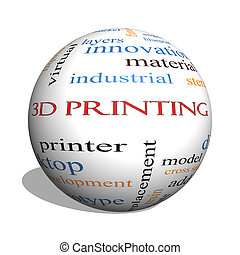 概念, 詞, 球, 列印, 雲,  3D
