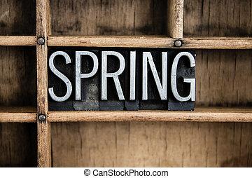 概念, 詞, letterpress, 春天, 金屬, 抽屜