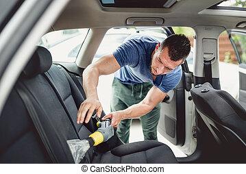概念, 詳述, 労働者, 掃除機をかける, automobile., 清掃, 自動車, 専門家, 心配