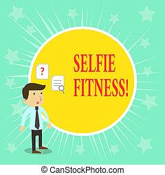 概念, 词汇, 测验, 商业, 正文, selfie, 内部, 作品, gym., 拿, fitness., 图画,...