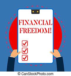 概念, 財政, ある, テキスト, フレーム, 決定, 青, 作りなさい, 手掛かり, 2, 執筆, クリップボード, お金, 白, 持つ, 長方形, 生活, 大きい, 意味, hands., について, freedom., 穴, なしで, 強調された, 手書き