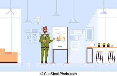 概念, 財政, オフィス, 現代, co-working, 会議, グラフ, スピーカー, 内部, プレゼンテーション, フルである, ビジネス, チャート, ビジネスマン, 横, 人, 中心, とんぼ返り, 長さ, 提出すること, meting, 作成