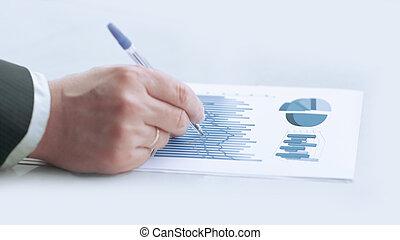 。, 概念, 財政, ビジネス, 点検, data., 終わり, ビジネスマン