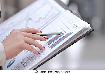 概念, 財政, ビジネス, 点検, report., up.accountant, 終わり