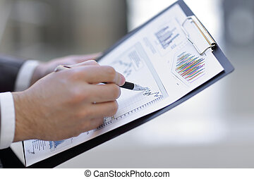 概念, 財政, ビジネス, 点検, up.businessman, plan., 終わり