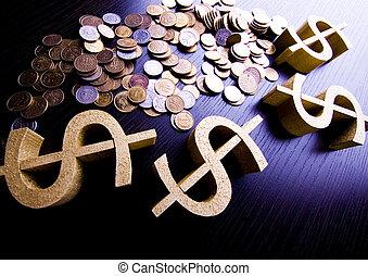 概念, 財政, 細部, 明るい, クローズアップ, ドル, 飽和させられた