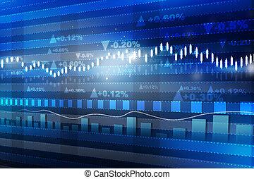 概念, 財政, 經濟, graph., 圖表, 世界市場, 股票