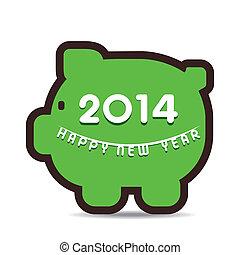 概念, 貯蓄の金, 年, 新しい, 幸せ