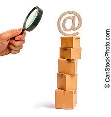 概念, 買い物, ガラス, 商品, シンボル, オンラインで, インターネット, 箱, 電子メール, 見る, top., 販売, shopping., によって, 認識, サービス, タワー, ボール紙, 拡大する