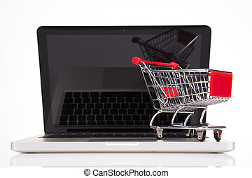概念, 買い物, コンピュータ, 背景, オンラインで, 白