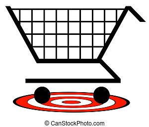 概念, 買い物, ターゲット, -, カート, 下に, ベクトル, 小売り