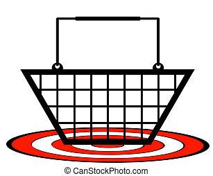 概念, 買い物, ターゲット, -, カート, 下に, 小売り