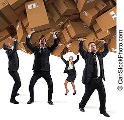 概念, 買い物, 人々, boxes., 埋められる, インターネット, 中毒, ボール紙, 山