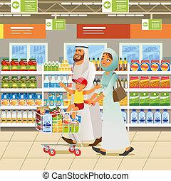概念, 買い物, 家族, muslim, ベクトル, 漫画