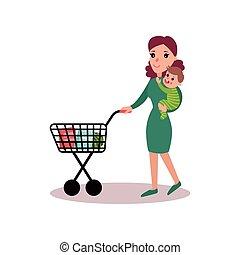 概念, 買い物, 彼女, 押す, 腕, イラスト, カート, ベクトル, お母さん, 母, 赤ん坊, carring, 極度