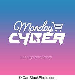 概念, 買い物, 月曜日, マーケティング, cyber, オンラインで
