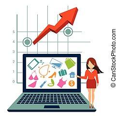 概念, 買い物, ecommerce, オンラインで