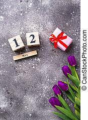 概念, 贈り物, 母, box., 花, 日