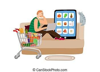 概念, 超級市場, 在網上