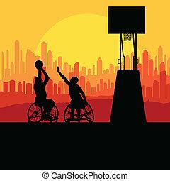 概念, 車椅子, 不具, 人, ベクトル, 背景, バスケットボール, 遊び, 人
