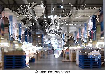 概念, 輸入, エクスポート, 地図, 世界的である, partnership., ロジスティクス