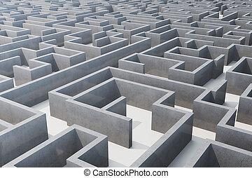概念, 迷路, 解決, イラスト, cocrete, 複合センター, 問題, 3d