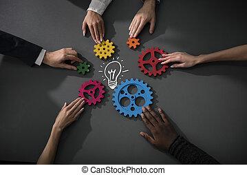 概念, 連結しなさい, ビジネス, 協力, 統合, 小片, idea., チームワーク, ギヤ, チーム, 新しい, 創造的, 建造しなさい