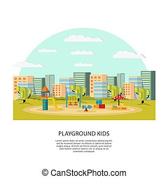 概念, 運動場, 子供
