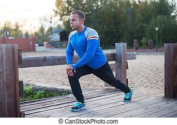 概念, 運動, 伸展, 晚上, sunset., 人, 健身, aoutdoors, 鍛煉
