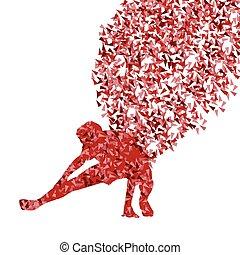 概念, 運動, 暖かい, 伸張, の上, ベクトル, 背景, 練習, 人