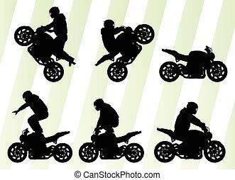 概念, 運転手, ベクトル, オートバイ, 背景, パフォーマンス, スタント, 極点