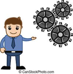 概念, 過程, 顯示, -, 齒輪, 人