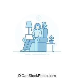 概念, 遙遠, 辦公室, 自由職業者, 工作, -, 創造性, 成員, outsource, 隊, 家