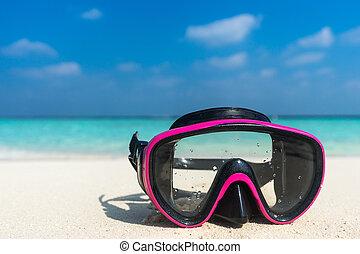 概念, 遙遠, 鮮艷, 旅行, 面罩, beaches., 假期, 熱帶, 水下通气管, 海