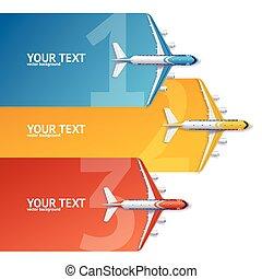概念, 選択, banner., 旅行, ベクトル, 飛行機