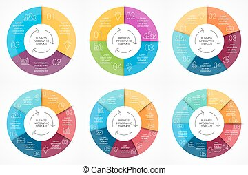概念, 部分, グラフィック, 6, プロセス, グラフ, 4, テンプレート, 8, 円, プレゼンテーション,...