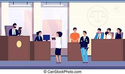 概念, 部分, 取得, trial., 犯罪者, 法律, 弁護士, courtroom., 陪審, ベクトル, 裁判官, 警察, 正義, 士官