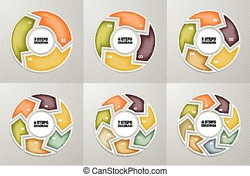 概念, 部分, 困惑, 6, 印, infographic, processes., set., グラフ, プレゼンテーション, 4, テンプレート, infographics, 8, 円, steps., オプション, ビジネス, シンボル, 7, データ, 周期, 図, 矢, chart., 5, ベクトル, 3, ラウンド
