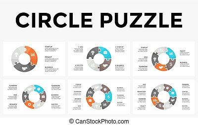 概念, 部分, 困惑, 6, processes., グラフ, 4, 8, 円, プレゼンテーション, ビジネス, オプション, 7, ステップ, 周期, 図, infographic, 矢, chart., 5, ベクトル, 3