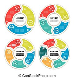 概念, 部分, 抽象的, 6, サイクリング, processes., グラフ, バックグラウンド。, 4, テンプレート, 円, プレゼンテーション, ビジネス, オプション, 図, infographic., 矢, ラウンド, chart., 5, ベクトル, ステップ, 3, ∥あるいは∥